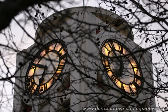 Winter glow - Liquid amber and the Hasting Clocktower photograph