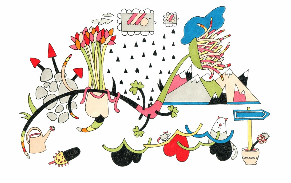 Colorful illustration with mountains, flowers, a cat and a mouse, clouds and rain