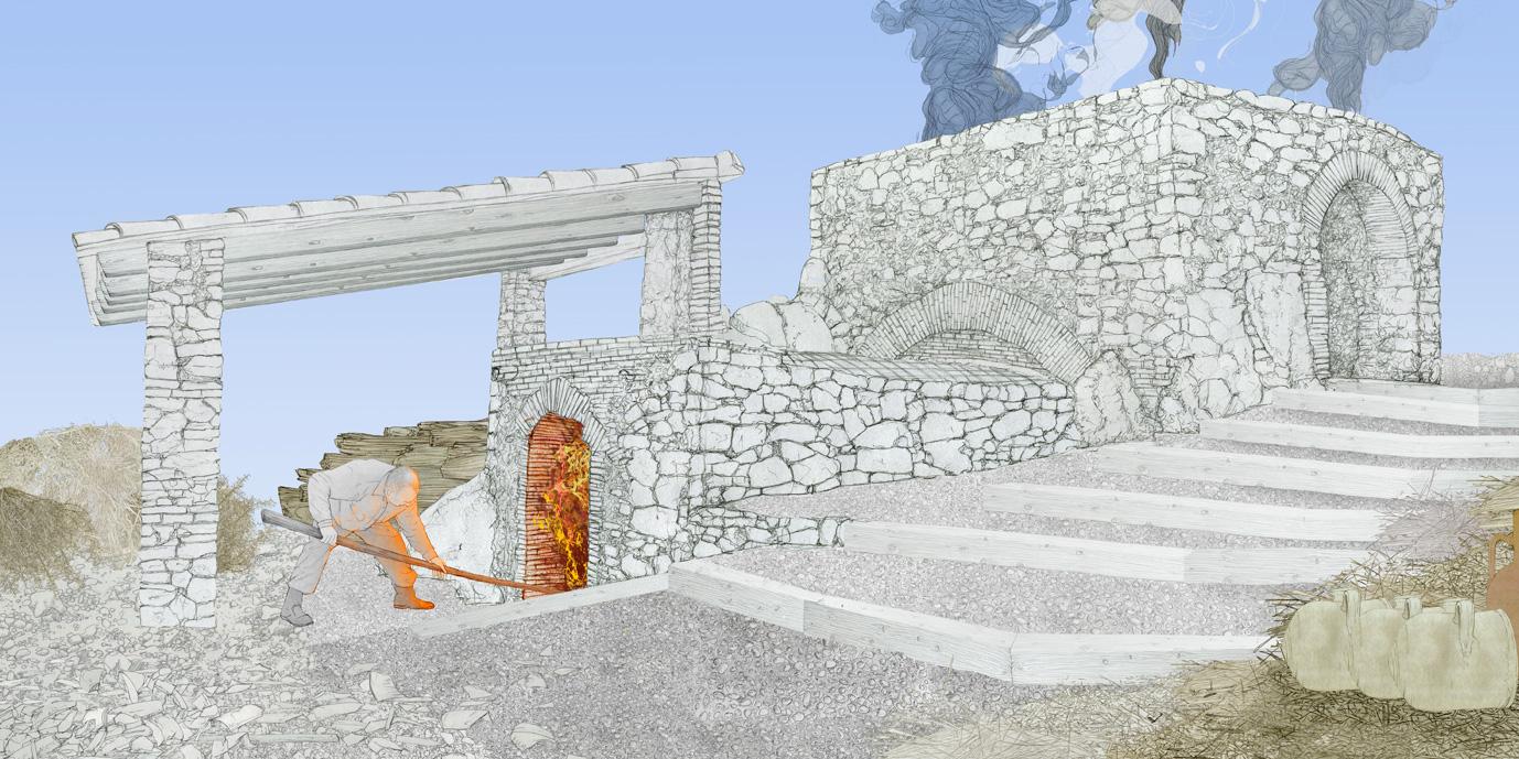 Horno ceramico, Castello de Rugat, dibujo
