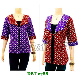 DB2788 Baju Bluse Batik Wanita Terbaru 2013