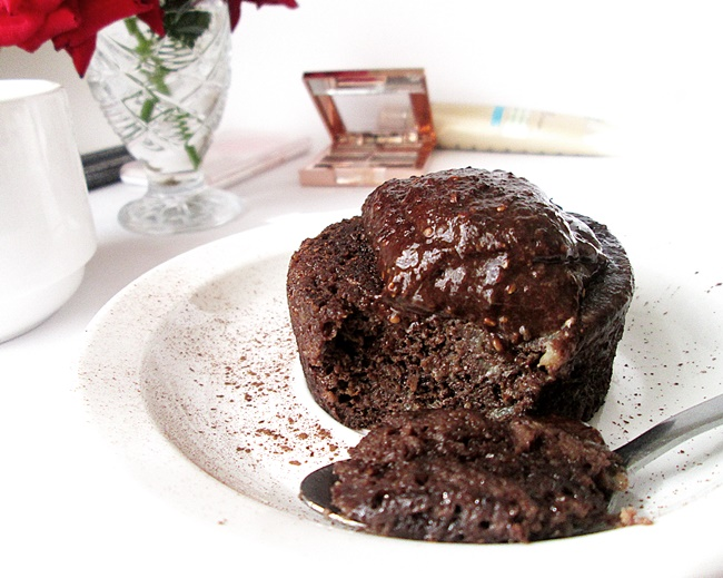 Chocolate mug cake that's too delicious to be healthy... but it is! Oat flour chocolate cake, in the microwave with a 3 ingredient 100% dairy free chocolate mousse topping