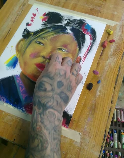 proceso de retrato con pastel
