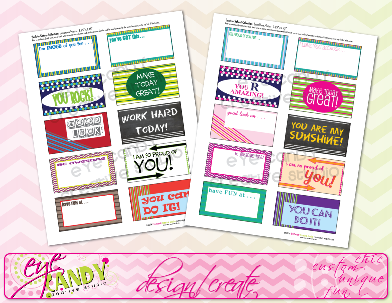 notes for kids lunches, girls lunchbox notes, boys lunchbox notes