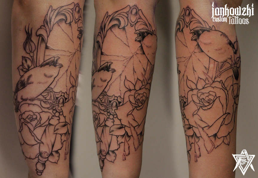 Jankowzki custom Tattoos: A story of two bullfinches and ...