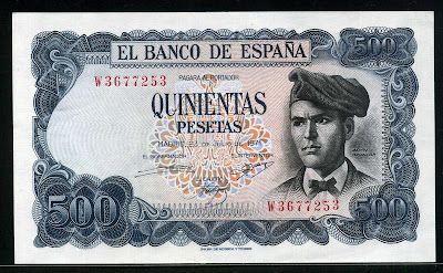 Spain currency money 500 Pesetas banknote Verdaguer