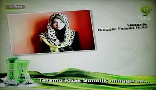 Gambar Blogger Hazanis Dalam Safiyya TV9, gambar blogger hazanis dalam tv, gambar blogger hazanis dalam iklan syampu Sunsilk, gambar blogger berhijab, fesyen blogger bertudung masa kini, blogger fesyen