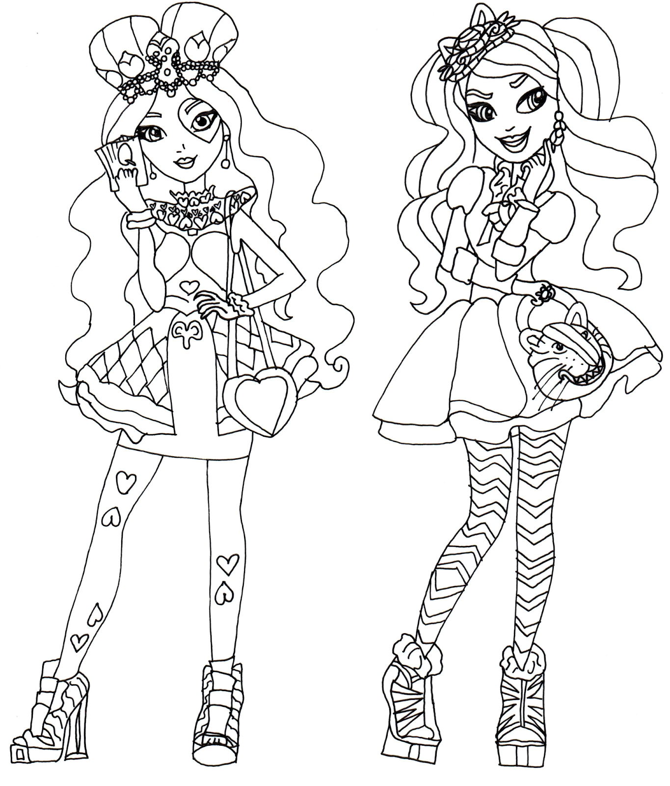 Printable coloring pages ever after high - Free Printable Ever After High Coloring Page For Lizzie Hearts And Kitty Cheshire