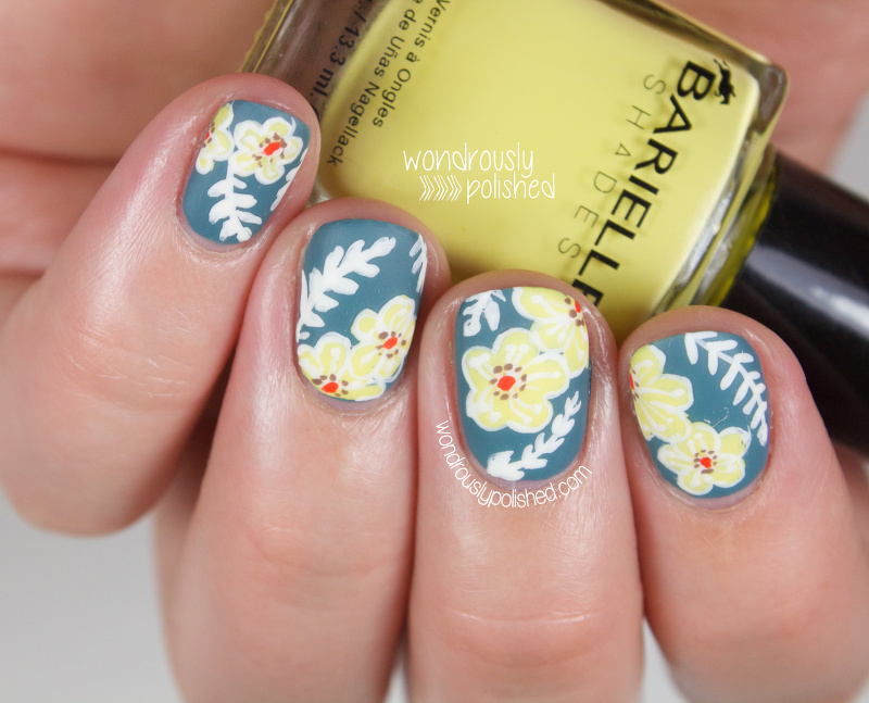 Wondrously Polished: Slate Blue Floral