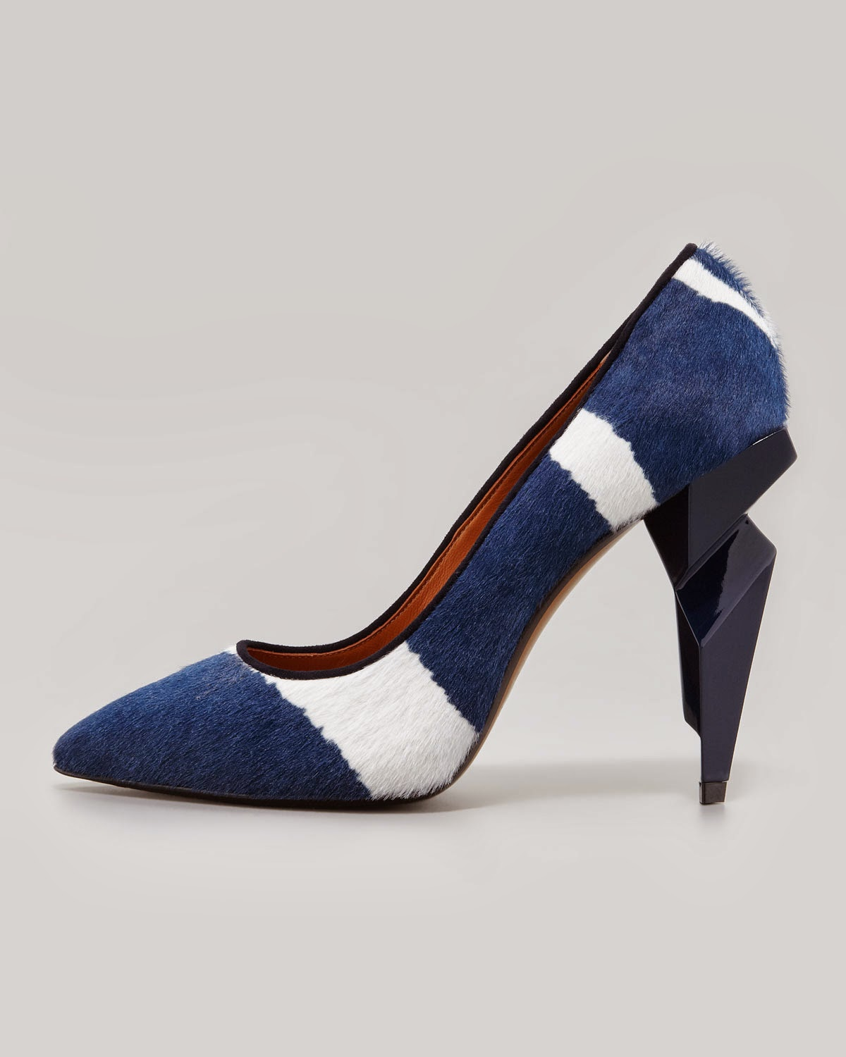 Fendi Zebra-Print Diamond Heel Pump Blue/White