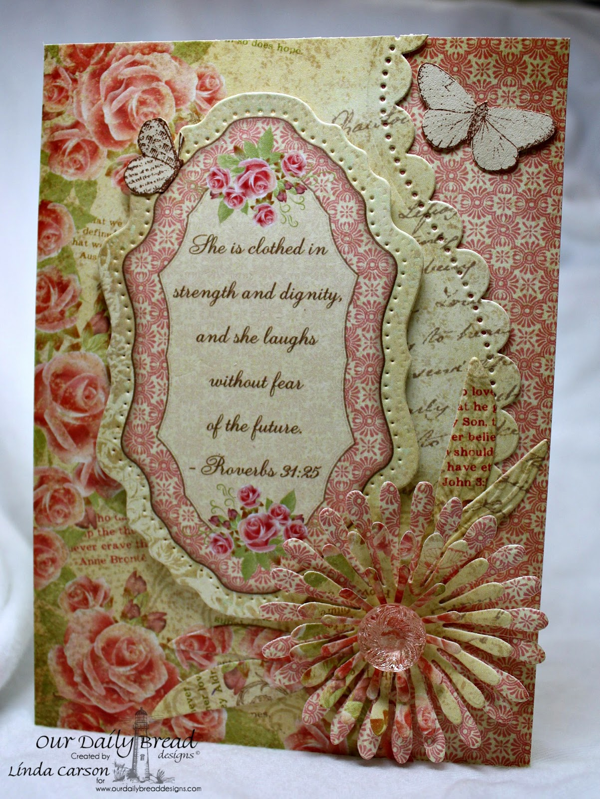 ODBD, Asters and Leaves dies, Vintage Flourish Pattern die, Blushing Rose Collection, Faith stamps, designer Linda Carson