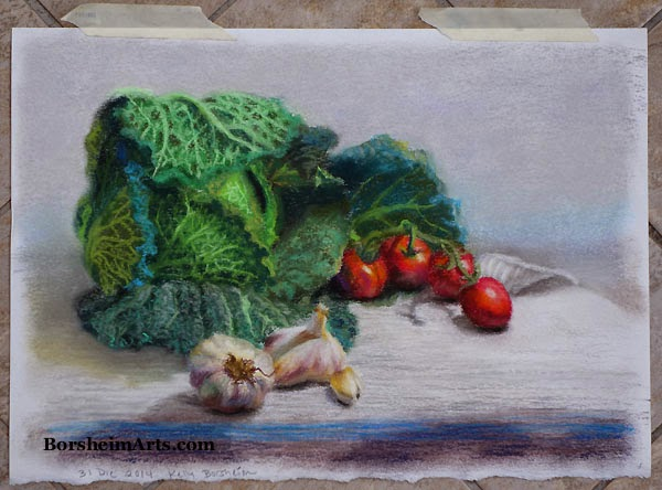 Still Life Kale Tomato Garlic pastel art drawing painting