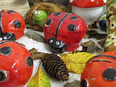 money boxes shaped like ladybugs - and a turtle