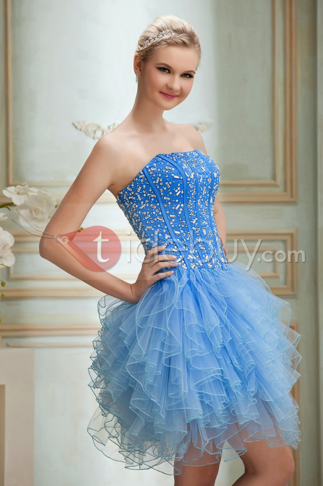 Fabulous A-Line Strapless Beading Ruffles Lace-up Short Yana's Prom/Homecoming Dress