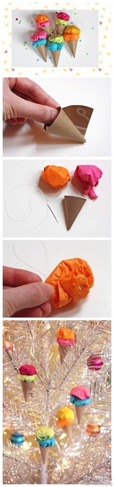como fazer decoração papel sorvete