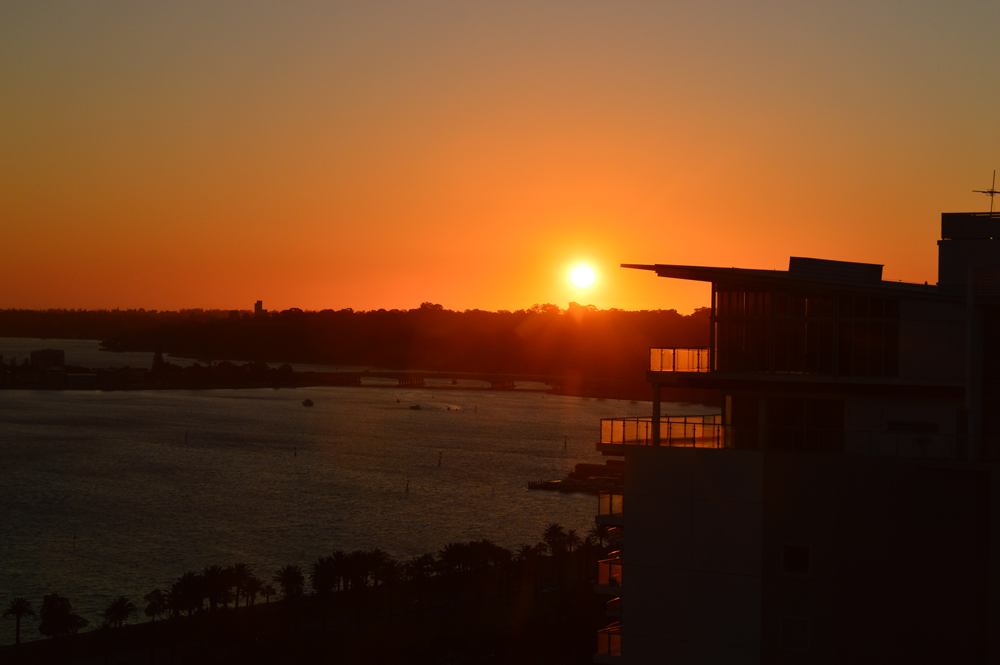 View of Perth from Pan Pacific Hotel, sunset