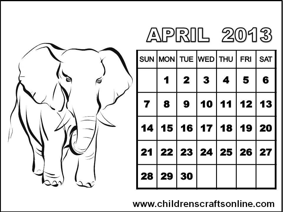 coloring page printable calendar april
