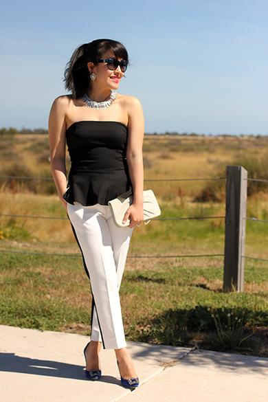 Ann Taylor Black Strapless Peplum Top
