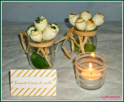 image Bouquet d'oeufs de caille : échalote-ciboulette ou curry