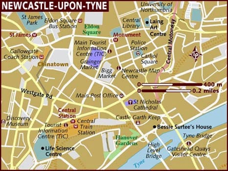 Nice basic map of Newcastle, England