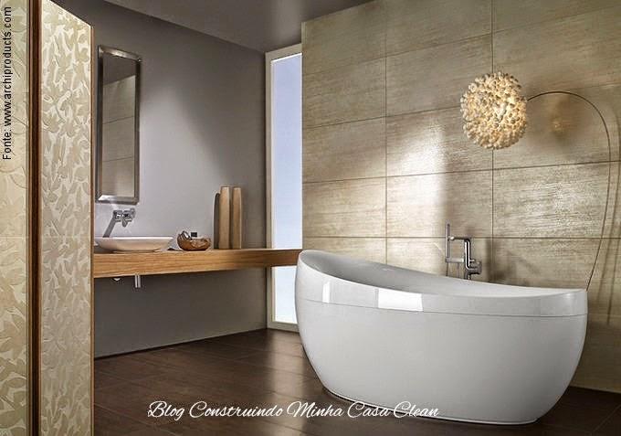 Construindo Minha Casa Clean 13 Banheiros com Piso de Madeira! -> Decoracao De Banheiro Com Porcelanato Que Imita Madeira