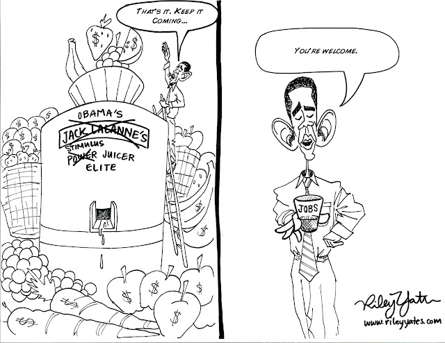 Obama cartoon, Stimulus cartoon, Summer Recovery, Spending cartoon