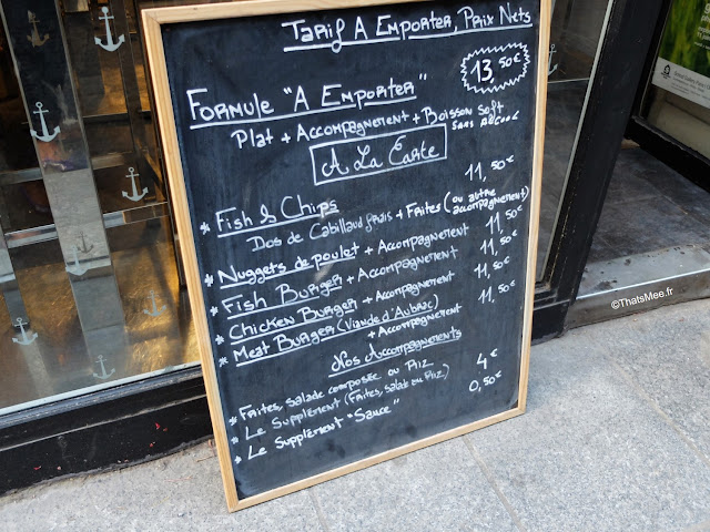 carte take-away emporter restaurant resto Johana's Fish & Chips spécialité sur place ou à emporter , Rue Saint-Sauveur à Paris