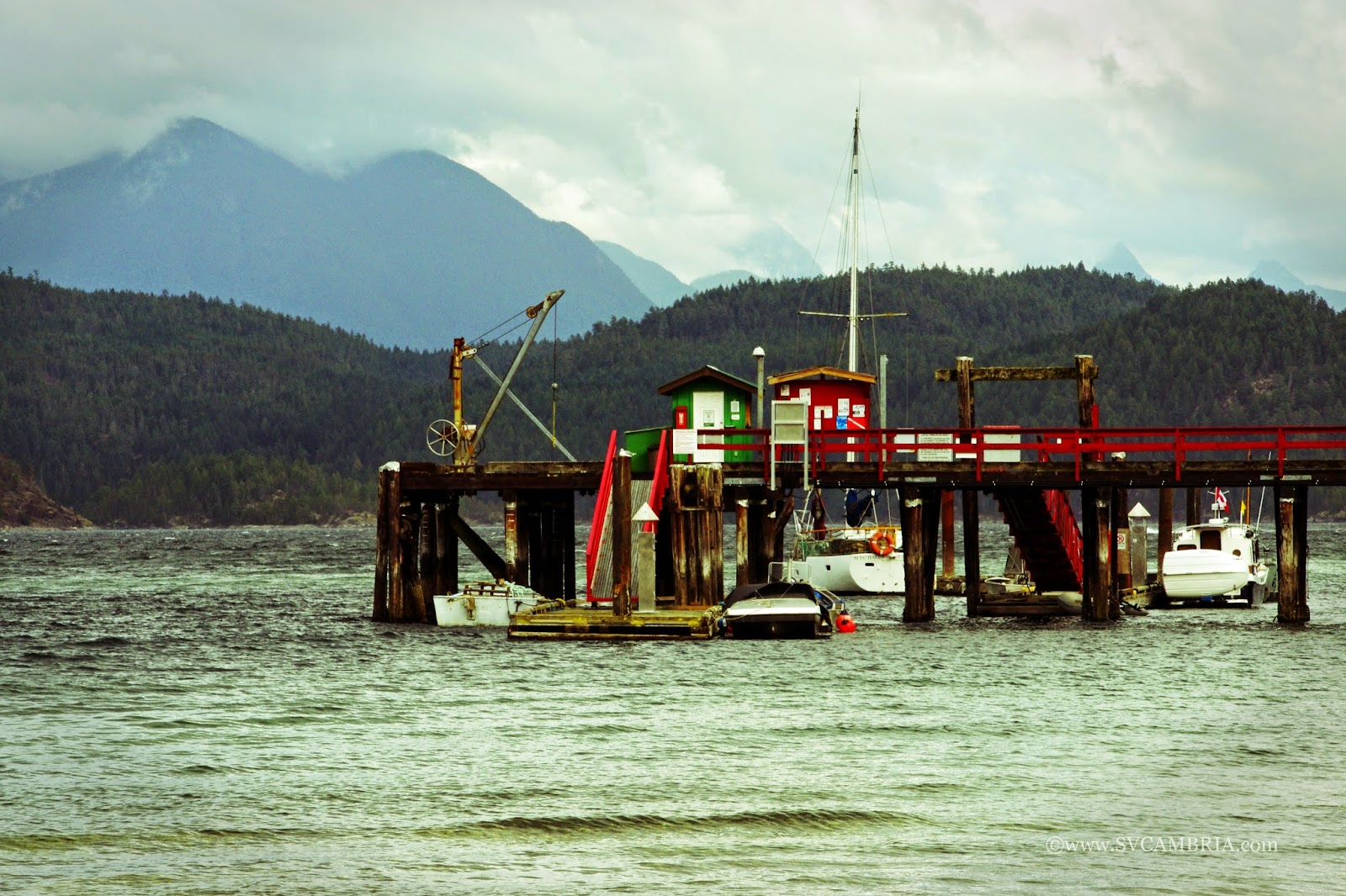 The public wharf in Squirrel Cove, Cortes Island.