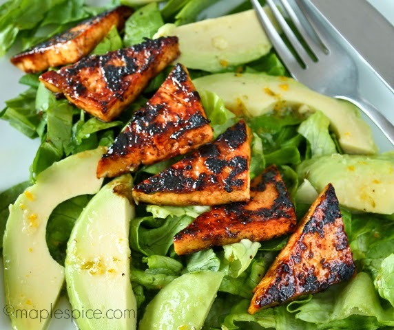 Zesty Lime Margarita Tofu Salad with Garden Fresh Lettuce and Avocado. Vegan and Gluten Free.