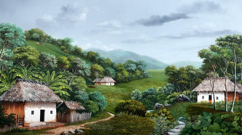 Cuadros modernos pinturas y dibujos cuadros de paisajes - Cuadros de casas de campo ...