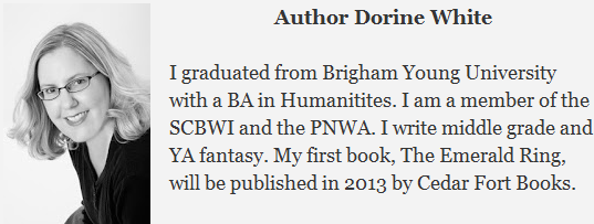 Author Dorine White attended Brigham Young University and is having her first novel, The Emerald Ring, published through Cedar Forts Books