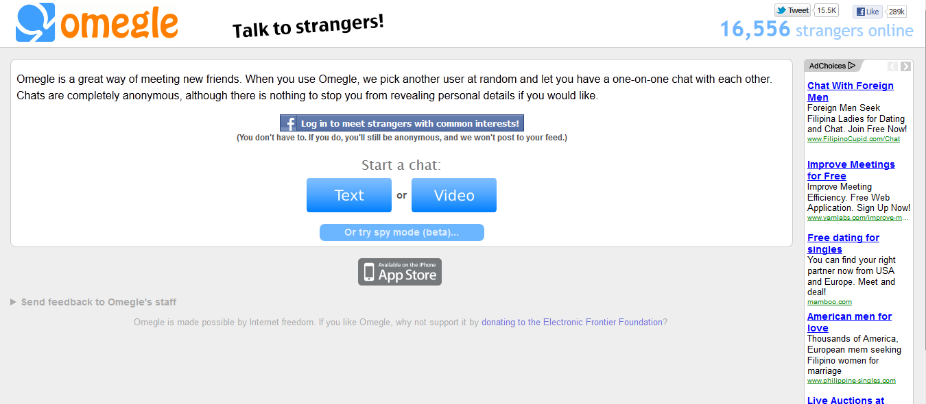 omegle talk to strangers sex online