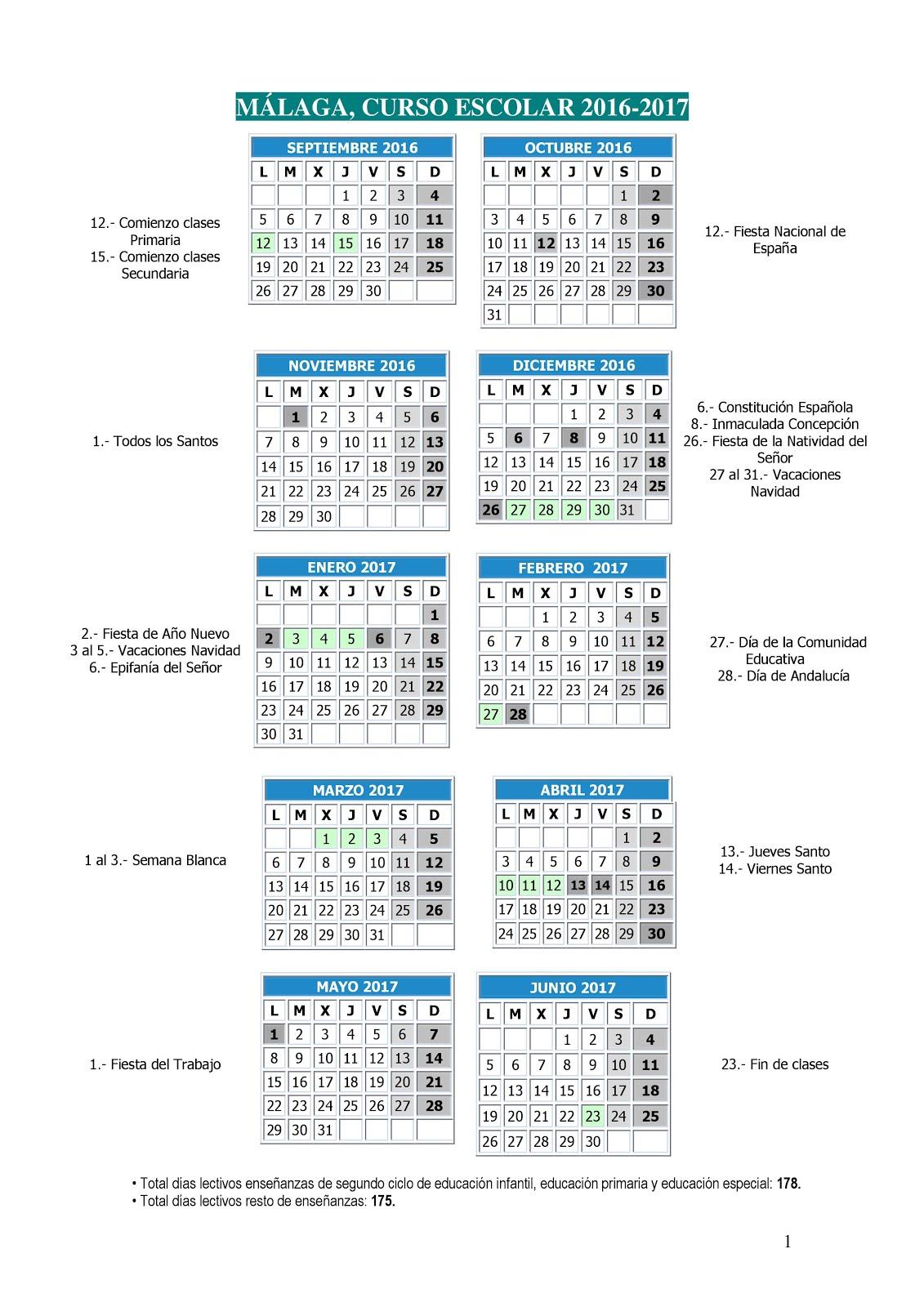 CALENDARIO CURSO 16-17 MALAGA