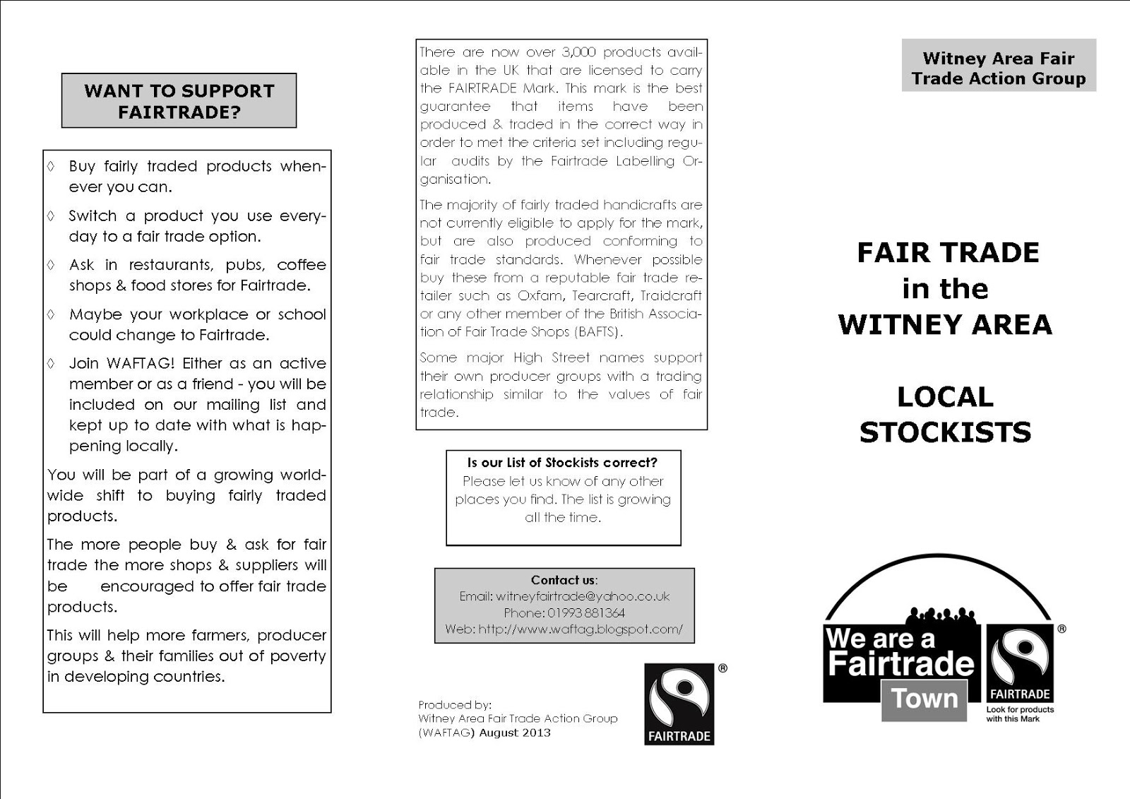Witney Area Fair Trade Action Group WAFTAG!: Where you can buy Fair ...