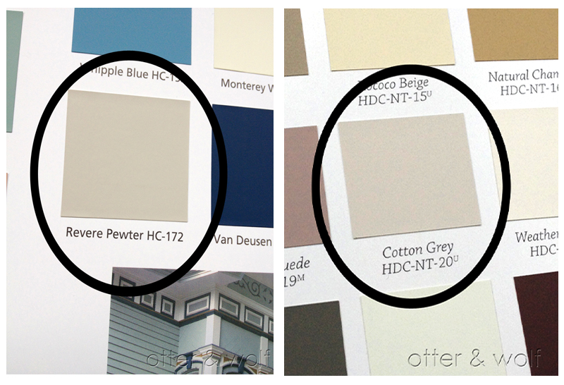 Behr's Cotton Grey , similar to Benjamin Moore's Revere Pewter