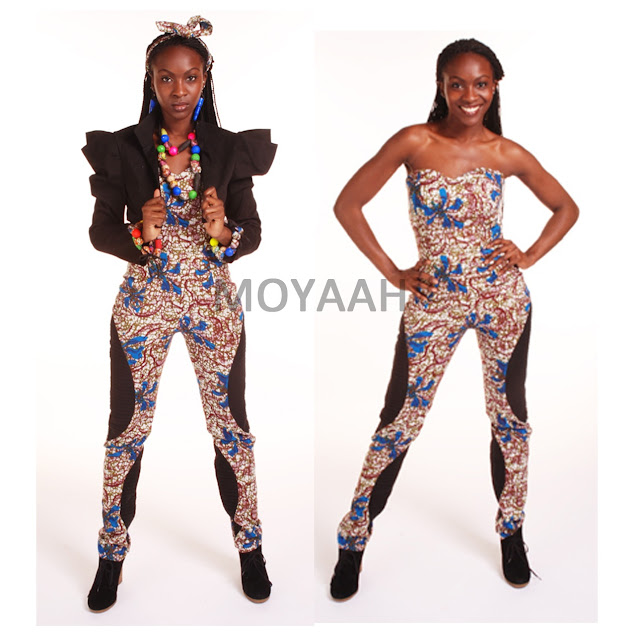 blue african print jumpsuit blue african print trousers pants black crop jacket moyaah
