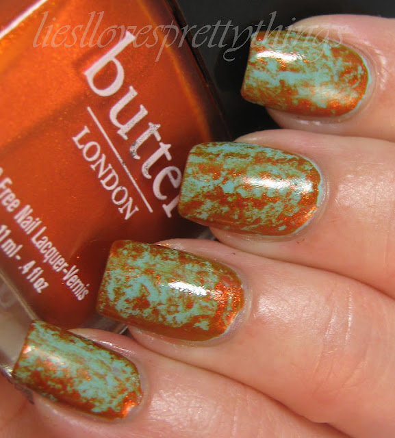 butter london poole and sunbaker saran wrap mani and tutorial