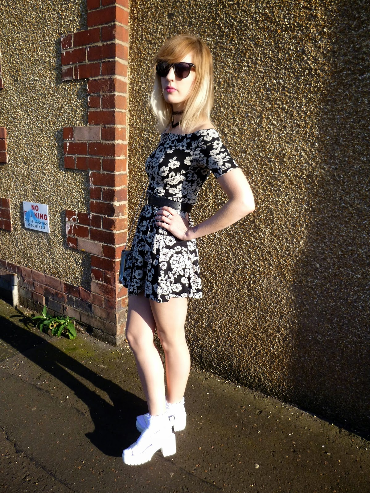 Robots Eating Roses, Miss Selfridge Dress and Chicwish Sandals