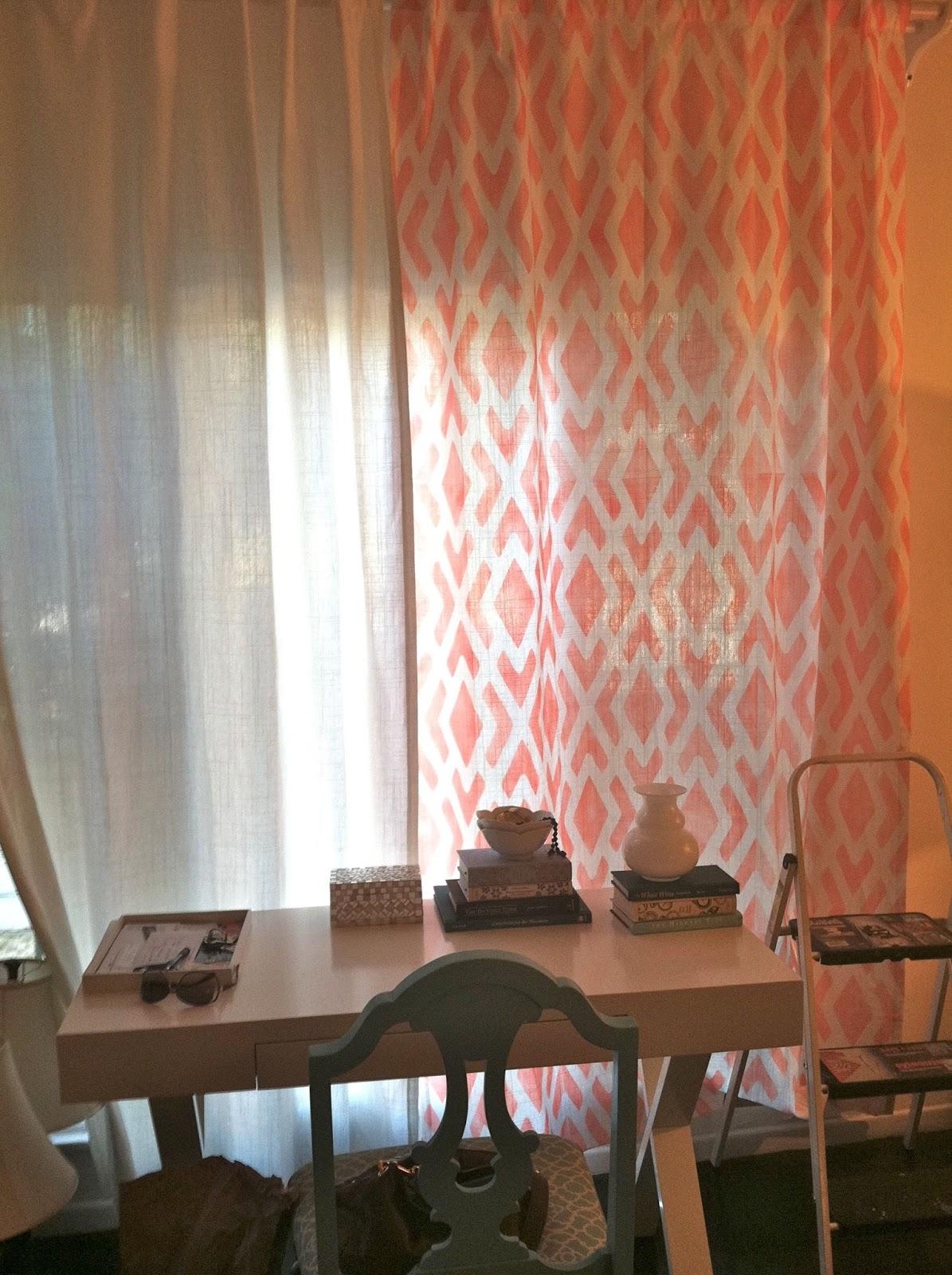 Rosa Beltran Design Stencil Painted Curtain Panels