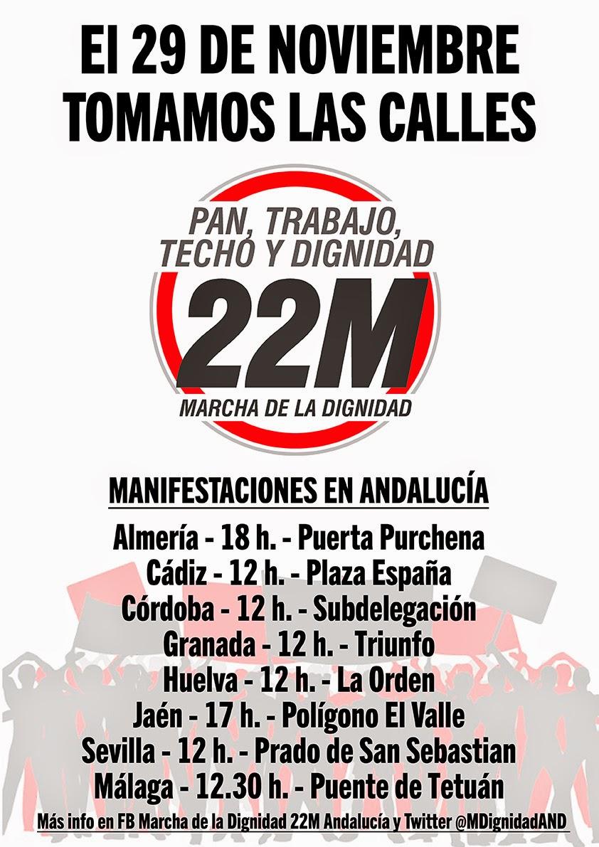 Marchas por la Dignidad. manifestaciones 29-N en Andalucía