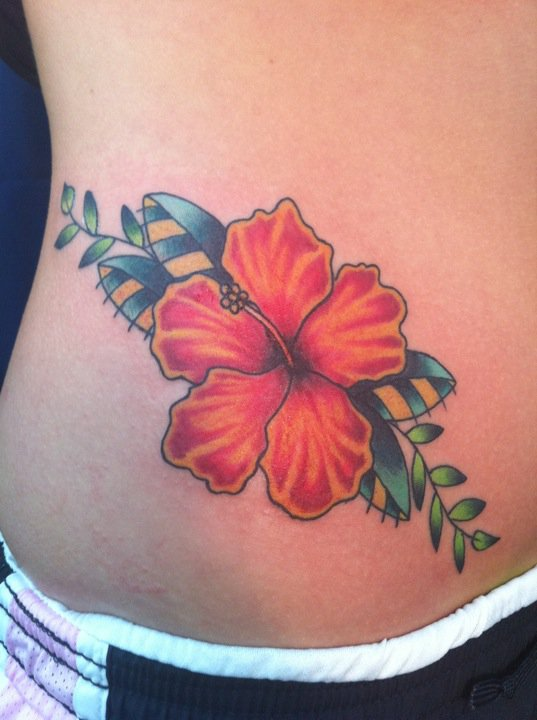 hibiscus flower black and white tattoo