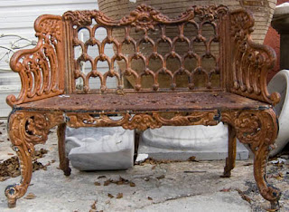 19thcentury Cast Iron Bench (33h x 43w x 15d) via Authentic Provence as seen on linenandlavender.net