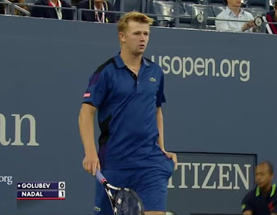 Rafael Nadal US Open round one Andrey Golubev screencaps images Tuesday match photos pictures