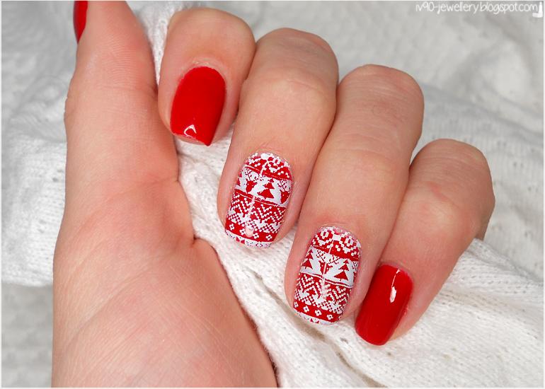 Manicure Czerwony świąteczny Sweterek Uroda Zblogowani