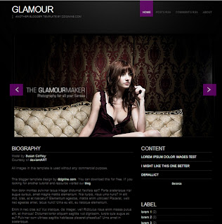 Glamour Blogger Template with slider and elegant dsign theme