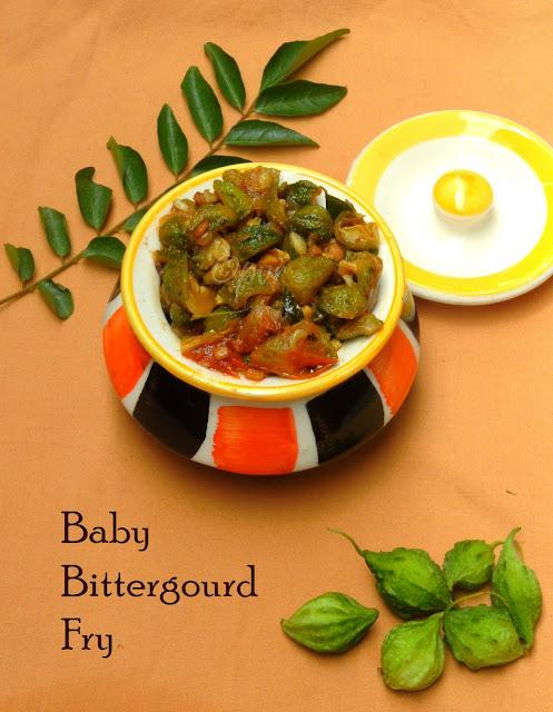 Baby bittergourd fry,kuruvi thala pavakka fry, midhi pavakka fry