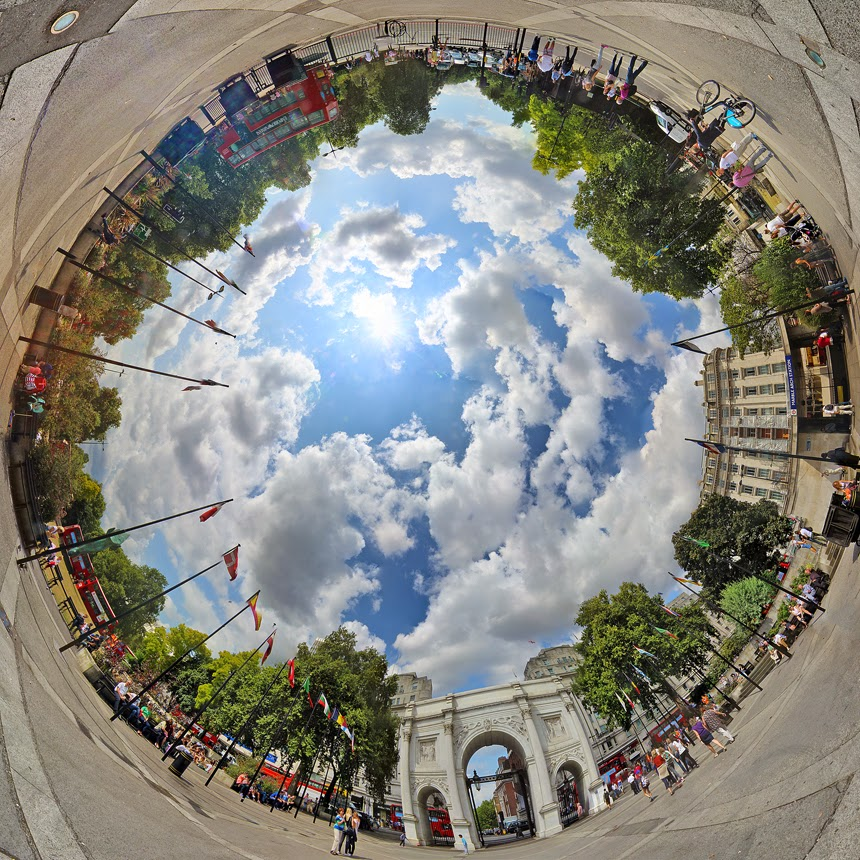 stereographic london igor fain tower bridge little planet marble arch