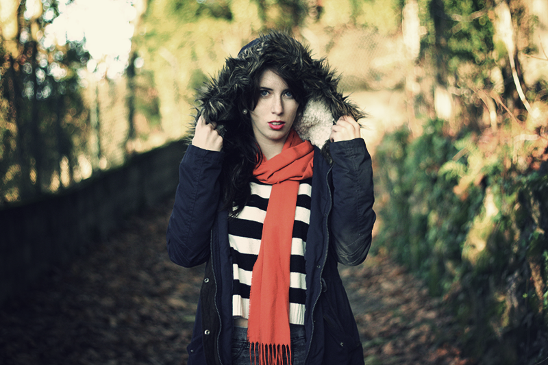 parka outfit chicnova striped sweater orange scarf lion of porches