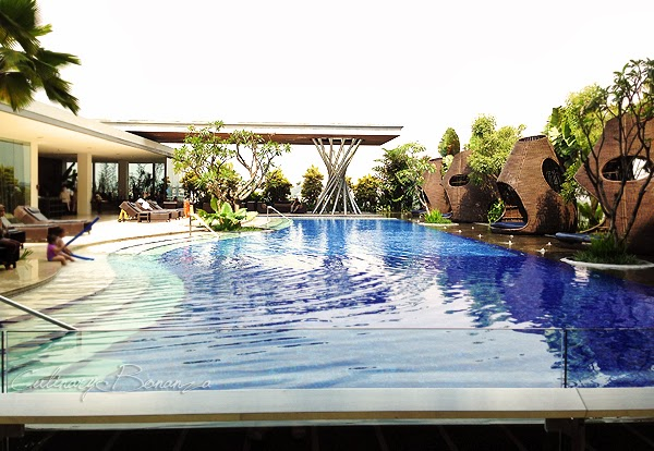 Swimming pool on sixth floor at Hilton Bandung