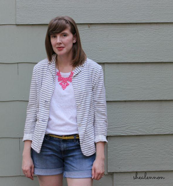 striped blazer and tee with neon accents | www.shealennon.com