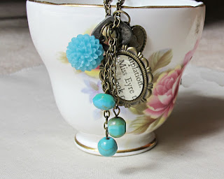 image jane eyre boho chic charm necklace literature charlotte bronte turquoise blue green vintage skeleton key two cheeky monkeys